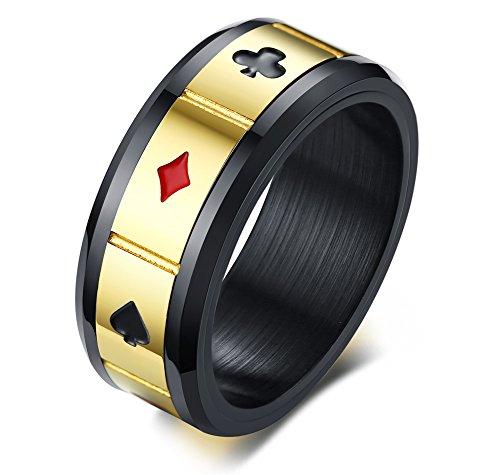 Vnox Nero Acciaio Inox Spades Cuore Club Diamante Anello di Poker Anello Carte da Gioco Anello Spinner Gioco Gioielli per Uomo,Taglia 17-27,5