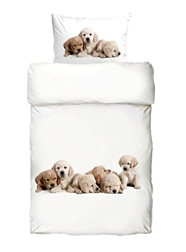 Bettwäsche Labrador Welpen Digitaldruck Mako Satin Baumwolle 135x200 Baby