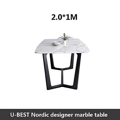 Eettafel LKU Houten basis modern design en verkoop van kunst marmeren eettafel, luxe interieur architectuur, 2,0 meter tafel