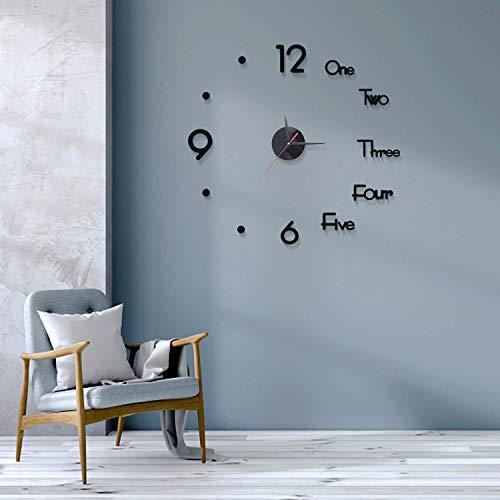 Ybzx 3D sin Marco DIY Reloj de Pared Espejo Adhesivo de Superficie Sin tictac Silencioso Relojes de Pared Modernos Pegatina para Mujeres Dormitorio/Sala de Estar/Cocina/Aula/Decoración de Oficina