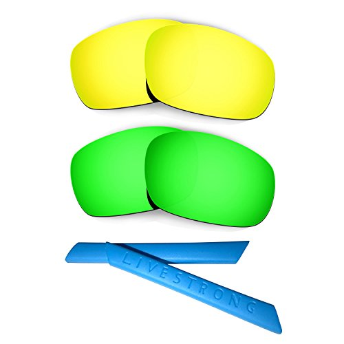 HKUCO 24K Gold/Green Polarized Replacement Lenses Plus Blue Earsocks Rubber Kit for Oakley Racing Jacket