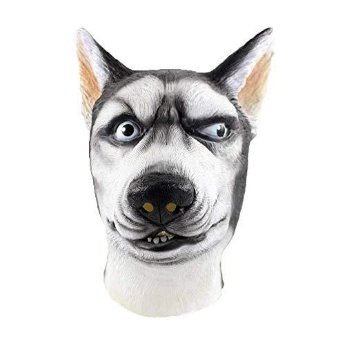 WANG XIN Halloween Masken Siberian Husky Maske Wolf Hund Latex Tier Kostüm Canine Kostüm Cosplay Tricky Maske (Weiß) (Color : White)