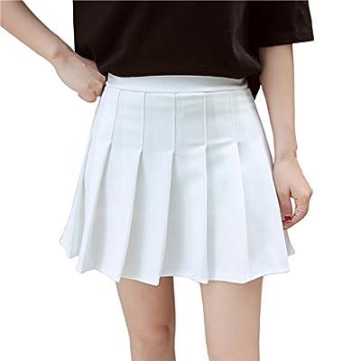 Hoerev Women Girls Short High Waist Pleated Skater Tennis School Skirt White