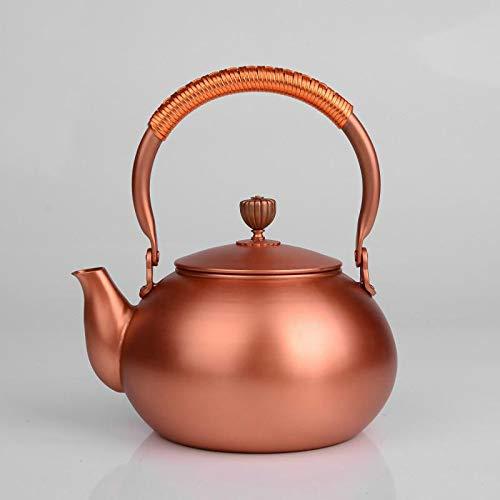 NoneBrand Tetera de Cobre, Juego de té de Estilo Chino, Capacidad de 1200 ml, 17.5 * 21.5, Color Cobre, Aislamiento térmico, retiene el Aroma del té