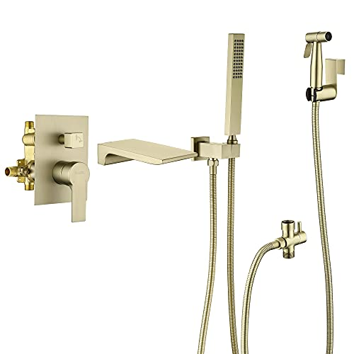 SHAMANDA Waterfall Wall Mounted Bathtub Faucet with Handheld Bidet Sprayer for Toilet,Brushed Gold