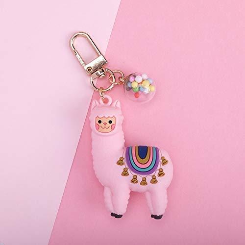1 llavero de alpaca de resina epoxi tridimensional con diseño de caricaturas creativas de pequeñas ovejas, joyería de regalo pequeño para mujer (color: negro)