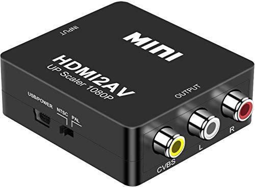 Adaptador HDMI a RCA, HDMI a AV Convertidor Video Audio Convertido Apoyo PAL/NTSC para PC/ Laptop/ Xbox/ PS2/ PS3/ TV/ VHS/ VCR Cámara DVD