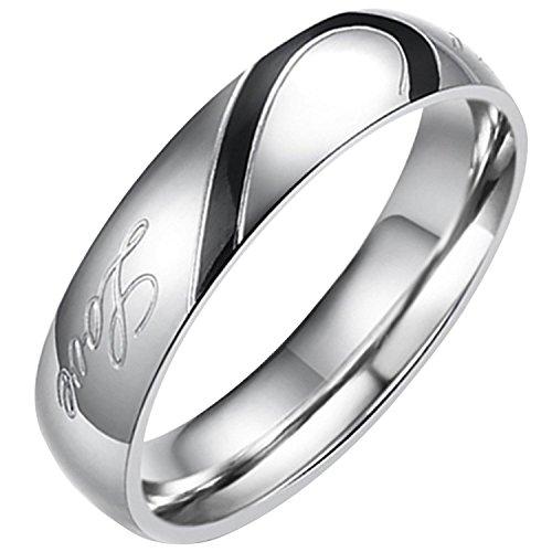 Flongo ステンレス指輪 ペア メンズリング Love&ハート モチーフ 刻印入 シンプル プレゼント 記念日 ブラック シルバー(銀)「33」