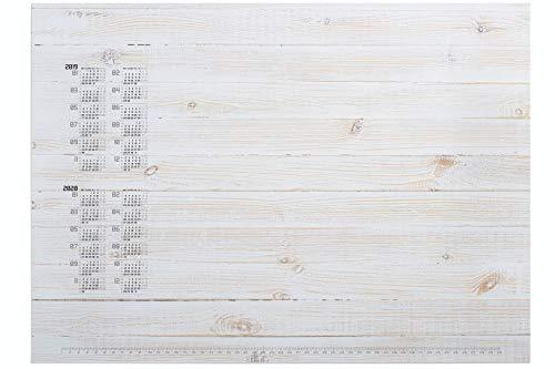 Durable 732215 Papier-Schreibunterlage (mit Holzmotiv und 2-Jahres Kalender, 570 x 410 mm)