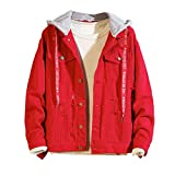 Jeansjacke Herren Herbst Winter Hooded Vintage Wash Distressed Jeansjacke Mantel Top Boys Hoodies Bluse -