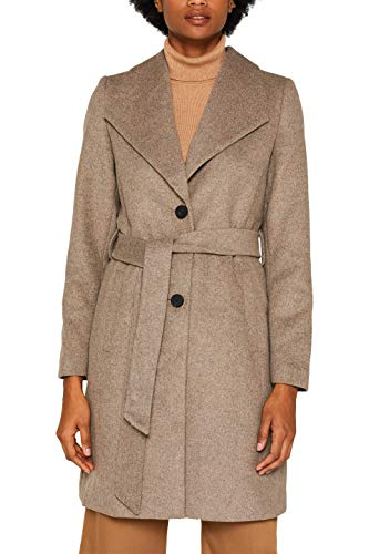 ESPRIT Collection Damen 089EO1G026 Mantel, Beige (Light Taupe 5 264), Large (Herstellergröße: L)