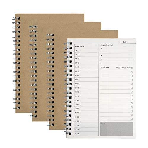 Bloc de Notas para Planificador Diario Manuales de Gestión del Tiempo para Hacer la Lista Cubierta de Kraft Marrón Cuaderno de Plan en Espiral, 100 Páginas / 50 Hojas, 19 x 13 cm (4 Piezas)