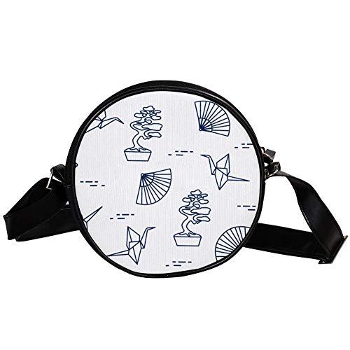 Bonsai Trees Canvas Round Crossbody Bag Women Shoulder Bag Circle Purse Handbags for girls