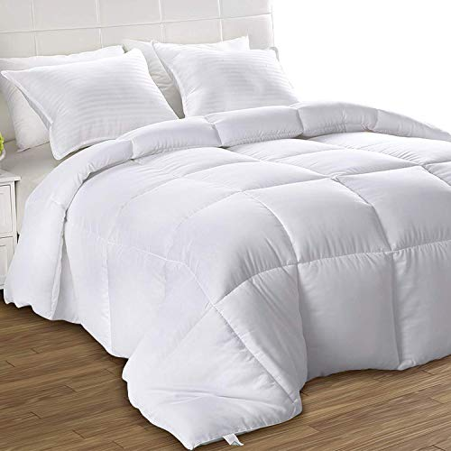 Utopia Bedding Down Alternative Comforter (King, White) - All Season Comforter - Plush Siliconized Fiberfill Duvet Insert - Box Stitched