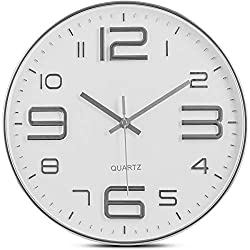 Bernhard Products Silver Wall Clock 12 Inch Silent Non-Ticking Quality Quartz Battery Operated Round White Decorative Modern Design for Home/Office/Kitchen/Bedroom/Living Room (Silver & White)