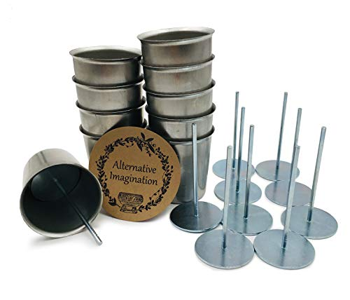 Seamless Steel Flared Votive Molds with Wick Pins (10 Molds with Pins)