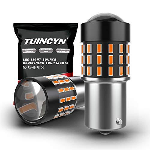 TUINCYN 1156 BA15S 1141 1003 7506 1073 Ampoule Del Orange/Jaune 3014 Puce 54-EX Clignotants Clignotants latéraux Feu arrière de Remplacement pour Lampe de Secours 12V-24V 3.1W (Pack de 2)