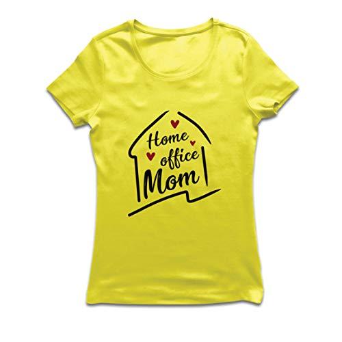 lepni.me Camiseta Mujer Ministerio del Interior Mamá Equipo Distanciamiento Social (Large Amarillo Multicolor)