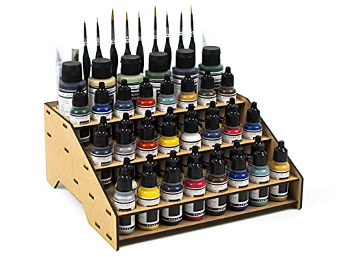 PROSCALE Soporte organizador pinturas miniaturas modelismo. Kit mesa de trabajo vallejo bote pinturas pinceles vallejo acrilico miniaturas warhammer modelismo maquetas (Modelo A)