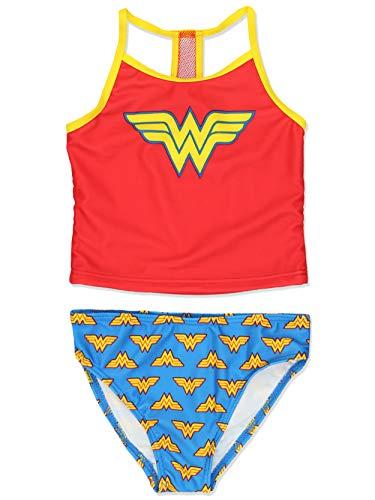 Wonder Woman Superhero Girls Tankini Swimwear Swimsuit (5-6, Red/Blue)