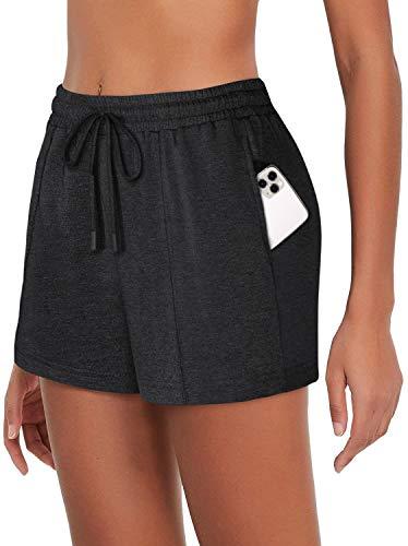 SeSe Code Damen Workout Running Shorts Kordelzug Elastischer Bund Lounge Shorts mit Taschen - mehrfarbig - XX-Large
