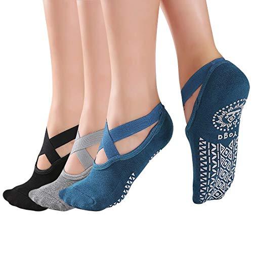 3 paia Calze per Donna Yoga Pilates Anti Scivolo | Calze Antiscivolo Donna | Calzini Donna per Pilates | Yoga |Barre e Danza | Abbigliamento Donna