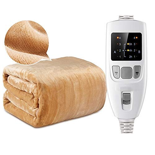 WYZQ Cozy Night Electric Blanket, Heated Super King | 4 Heat Settings Fleece | Dual Controls | Machine Washable | Overheat Protection (Color : Brown, Size : 180 * 150cm),Bed Throws