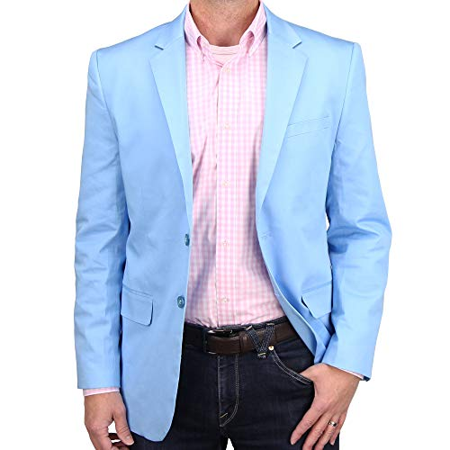 Mens Casual Blazer Sport Coat Jacket (Sky Blue, 48 Regular)