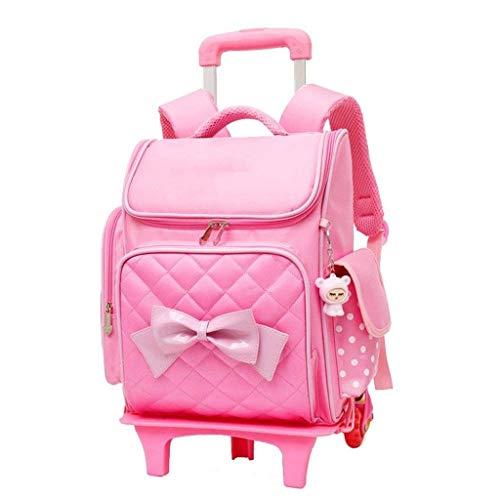 ZLHW Niedliche Print Bowknot Trolley Rucksack Grundschule Rolling Bag Rädern wasserdichte Bookbag mit Little Cuty Puppe for Kinder Mädchen (Color : Pink)