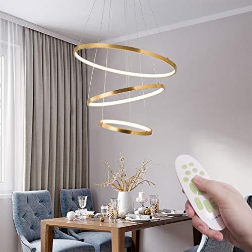 Moderne LED Pendelleuchten, Metall Kronleuchter Höhenverstellbar 3 Ringe (30+45+60cm) Hängelampen, Dimmbar Kronleuchter für Schlafzimmer Esszimmer Restaurant Lampen (WODA Shang Mao) (Gold)