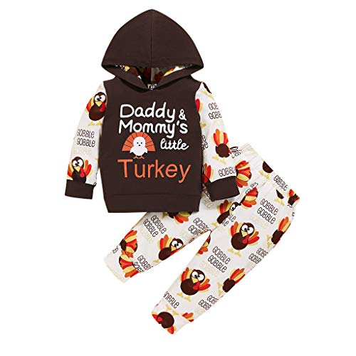 2PCs Christmas Outfit Set Toddler Infant Baby Girls Boys Tracksuit Clothes Daddy & Mommy's Rurkey Letter Print Long Sleeve Hoodie Tops Sweatsuit Turkry Pants Thanksgiving Day Xmas Costume Brown