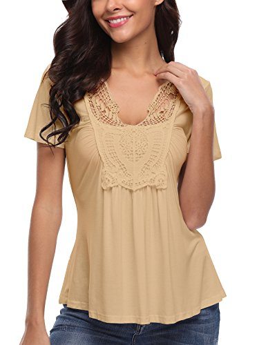 MISS MOLY Women's V Neck Top Short Sleeve T-Shirt Summer Blouse Apricot XX-Large