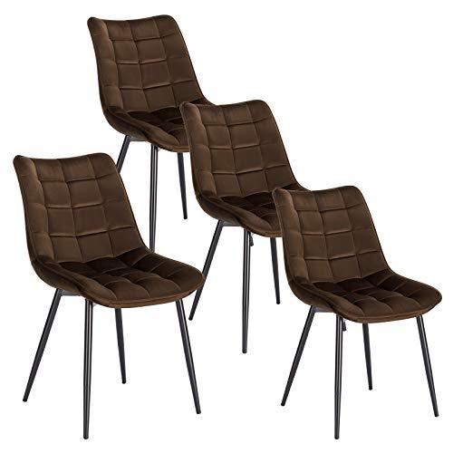 WOLTU 4 x Esszimmerstühle 4er Set Esszimmerstuhl Küchenstuhl Polsterstuhl Design Stuhl mit Rückenlehne, mit Sitzfläche aus Samt, Gestell aus Metall, Braun, BH142br-4