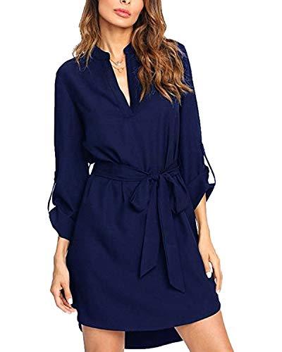 kenoce Sommerkleid Damen Knielang Kleid Baumwolle Damen V-Ausschnitt Strand Freizeitkleid Hemd Kleid Marine M=EU 38-40