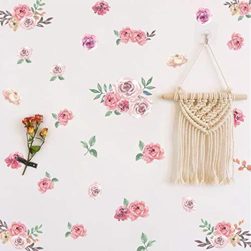 Kair - Adhesivo decorativo para pared, diseño de flores rosas y acuarela, 47 unidades, diseño de peonía y hojas verdes