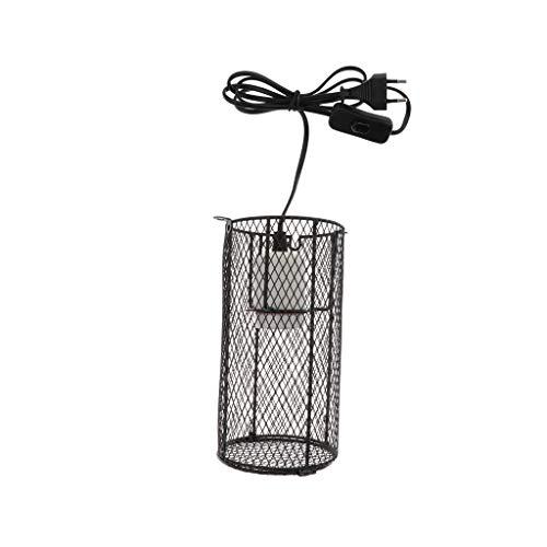 perfk Lampenschutzkorb Schutzgitter mit E27 Porzellanfassung für Terrarium