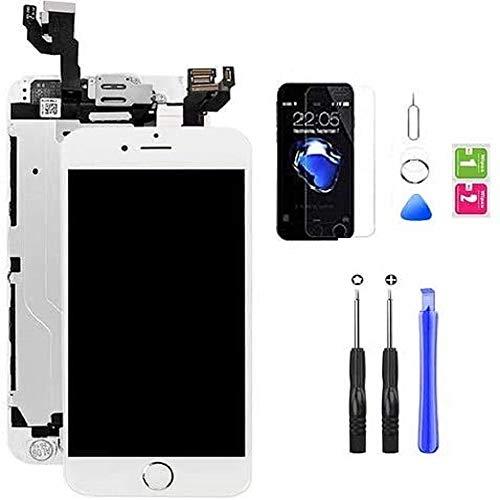 Hoonyer Pantalla para iPhone 6 Plus Pantalla táctil LCD Pantalla digitalizadora Herramientas de reparación (con botón de Inicio, cámara Frontal,Sensor de proximidad, Altavoz) Blanco