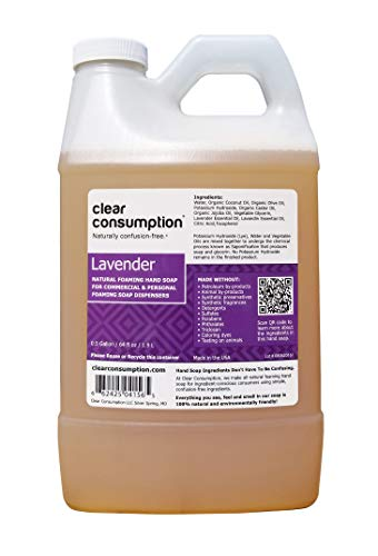 Natural Foaming Hand Soap Refill Lavender, Made Directly from USDA Organic Vegetable Oils, 64 oz (0.5 Gallon) by Clear Consumption