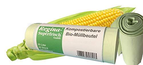 Maxpack® Bio Müllbeutel Müllsäcke 35 Liter - 60 Stück reissfeste Abfallsäcke aus Maisfolie - OK compost HOME zertifiziert - 100% heim-kompostierbar und biologisch abbaubar