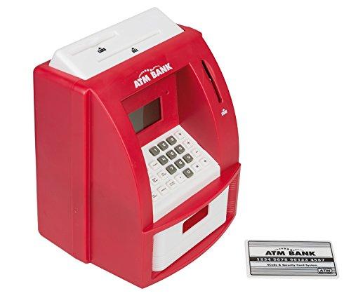 Idena 50021 - Digitale Spardose, Geldautomat mit Sound, PIN geschützter Bankkarte, Münzzähler und vielen Funktionen, ca. 21,8 x 16 x 14,5 cm, rot