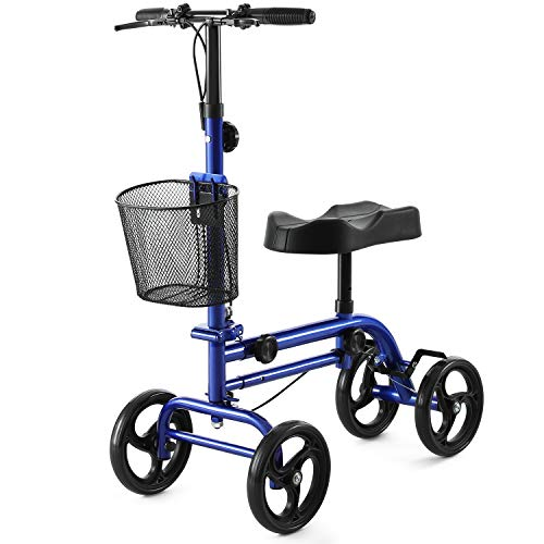 RINKMO Knee Scooter,All-Terrain Knee Scooters for Foot Injuries Steerable Knee Walker Foldable Leg Walker Economical Best Crutches Alternative with Attachable Basket Dual Safe Braking,Blue