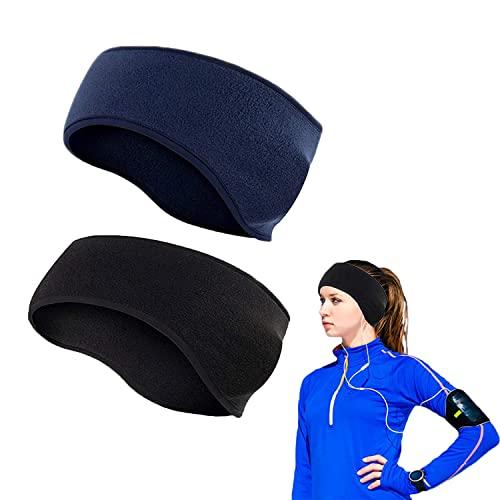 Fascia per gli sport invernali per donna e uomo ,Paraorecchie invernali,Paraorecchie, 2 fasce per lo sport calde adatte per fare jogging, escursioni e ciclismo. (Nero e blu)