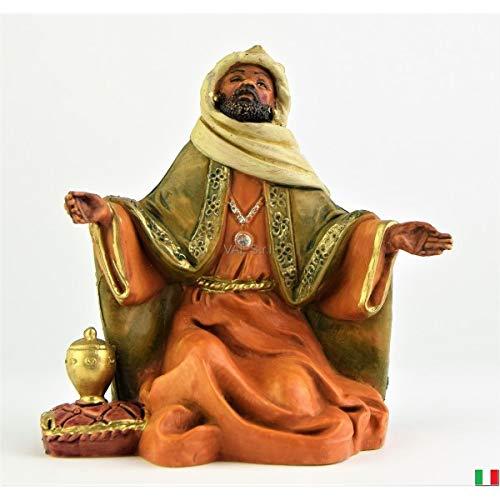 Fontanini Rey Magio Moro en Rodillera con mirra, 12 cm