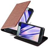 Cadorabo Hülle für Nokia Lumia 650 in Cappuccino BRAUN - Handyhülle mit Magnetverschluss, Standfunktion & Kartenfach - Hülle Cover Schutzhülle Etui Tasche Book Klapp Style