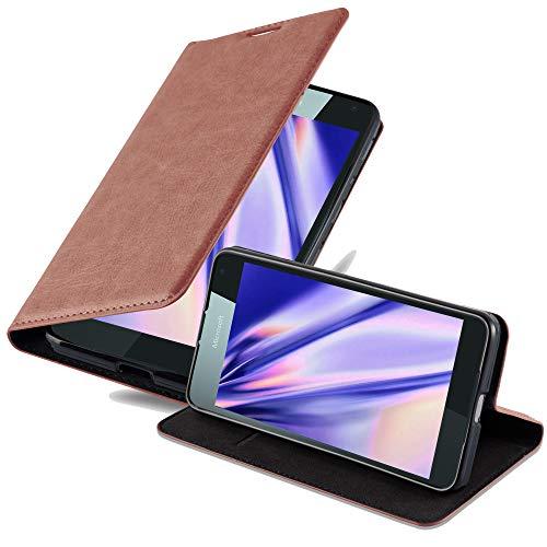 Cadorabo Hülle für Nokia Lumia 650 - Hülle in Cappuccino BRAUN – Handyhülle mit Magnetverschluss, Standfunktion & Kartenfach - Hülle Cover Schutzhülle Etui Tasche Book Klapp Style