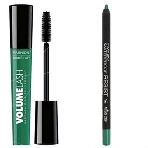 Máscara verde más lápiz de ojos