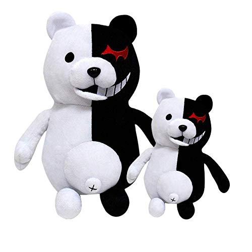Blackflame Monokuma Plüschtier Schwarz und Weiß Bär Plüschfigur Kuscheltier Anime Plüsch Kuscheltiere Stofftier Weiß Geschenke Spielzeug Spielzeug für Kinder Freunde Weihnachten (Klein 25 cm)