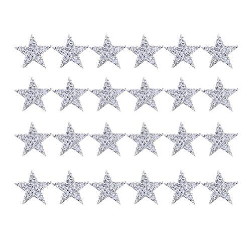VOSAREA 24 Piezas Parches para Ropa Termoadhesivos de Estrella Apliques para Chaquetas Mochilas 8cm (Plata)