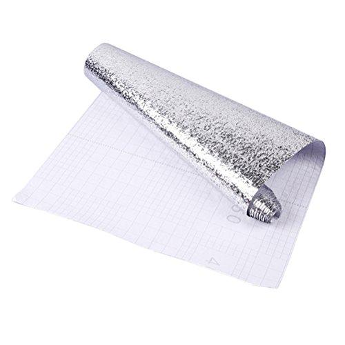BESTonZON Aluminium Folie Aufkleber Anti-Öl Selbstklebend Fliesenaufkleber Wasserdicht Hitzebeständige für Küche Küchenschränke Möbel DIY 40 x 100 cm