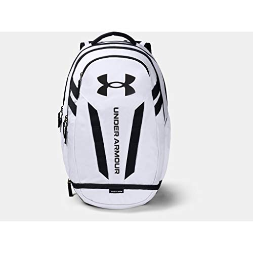 Under Armour Adult Hustle 5.0 Backpack , White (100)/Black , One Size Fits All